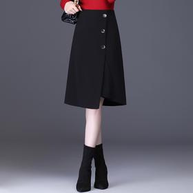 QZF-LDNS9783新款韩版时尚气质百搭高腰单排扣不规则半身裙TZF