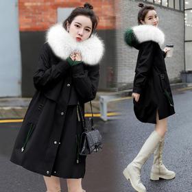 HRFS-WB16799新款潮流时尚气质百搭连帽带毛领长袖保暖中长款棉服外套TZF