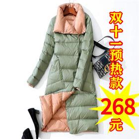 【双十一预热款】 YYZFS-YRF0302I0新款时尚气质修身轻薄款两面穿中长款羽绒服外套TZF
