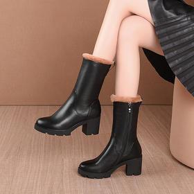 OLD731新款时尚气质真皮圆头加绒粗跟中筒靴TZF