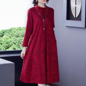 AHM-mtx8167新款时尚优雅气质宽松半高领长袖中长款印花连衣裙TZF