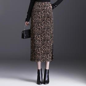 QZF-JYM2190新款时尚气质豹纹中长款开叉包臀半身裙TZF