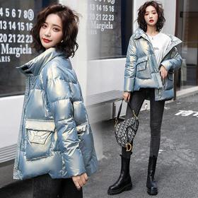 HRFS-WA20909新款韩版时尚气质舒适立领长袖短款亮面保暖棉服外套TZF