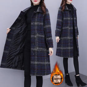 YHSS331388新款时尚优雅气质加棉加厚格子毛呢风衣外套TZF