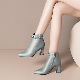 OLD-H2274新款时尚气质百搭尖头加绒粗高跟短靴TZF