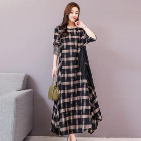 HRFS-WZD1129新款时尚优雅气质宽松圆领长袖格纹连衣裙TZF