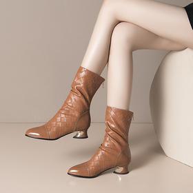 OLD-H2260新款时尚气质真皮尖头粗跟中筒靴TZF