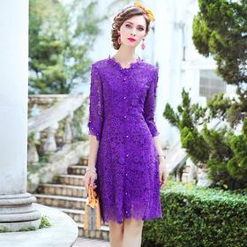 FMY33178新款时尚优雅气质修身显瘦V领镂空钉珠蕾丝连衣裙TZF