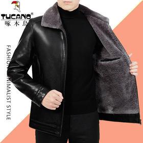 PDD-LJRFS201028新款男士加绒加厚保暖皮夹克外套TZF