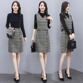 CQ-QY20920新款韩版时尚优雅气质拼接连衣裙两件套TZF