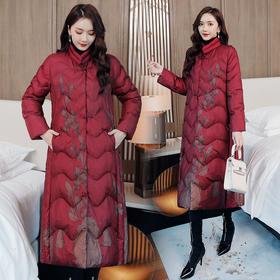 CQ-XX2155新款时尚优雅气质修身立领长袖印花保暖中长款棉服外套TZF