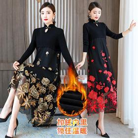 AHM-olz1562-7新款时尚优雅气质拼接立领长袖中长款刺绣连衣裙TZF