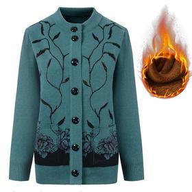 PDD-YZJH201028新款优雅气质宽松加绒保暖针织开衫外套TZF