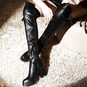 MLKL15262新款时尚气质性感弹力加绒方跟骷髅拉链长筒靴TZF