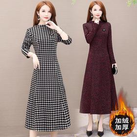 AHM-wmyp1908新款时尚优雅气质收腰显瘦中长款加绒条纹连衣裙TZF