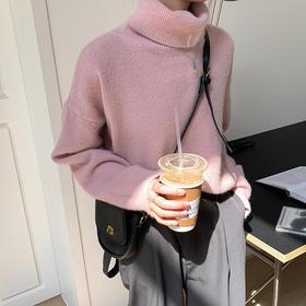 HZ-M8317新款时尚气质宽松百搭高领落肩袖版针织毛衣TZF