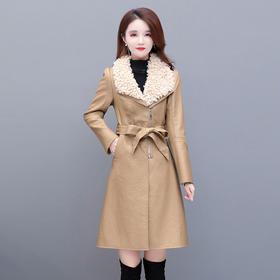 YWE-TBEZ-PM02新款时尚气质优雅收腰加厚中长款皮衣外套TZF