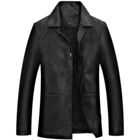 PDD-KEWSFS201029新款男士翻领长袖中长款加棉皮衣外套TZF