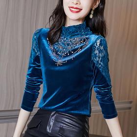 YHSS506038新款时尚优雅气质半高领长袖丝绒烫钻打底衫TZF