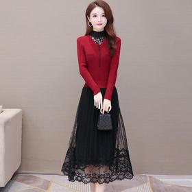 YWE-JLNH-W1616新款时尚气质修身半高领长袖中长款蕾丝拼接针织连衣裙TZF