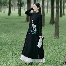XYFFS2258新款民族风优雅气质宽松圆领长袖印花中长款针织连衣裙TZF
