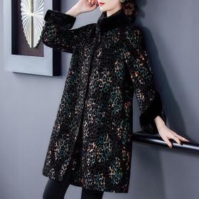 AHM-fls8835新款时尚优雅气质宽松毛领长袖印花中长款大衣外套TZF