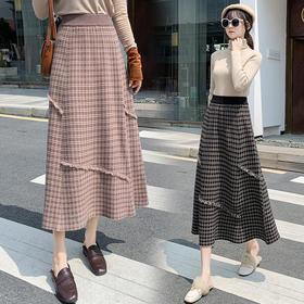 HT-N-C02-8939新款时尚气质高腰中长款流苏格子半身裙TZF