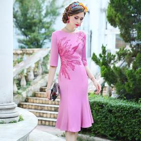 FMY33179新款时尚优雅气质修身圆领中长款刺绣鱼尾裙TZF