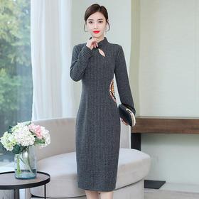 HT-N-B29-7258新款中国风优雅气质修身立领长袖针织刺绣连衣裙TZF