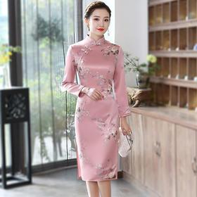 XGT-Q8653新款中国风优雅气质修身立领长袖印花加厚保暖夹棉旗袍TZF