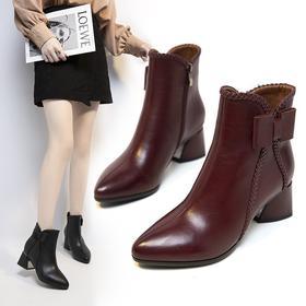 YYWXY6566新款时尚气质加绒蝴蝶结粗跟短筒马丁靴TZF