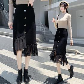 HT-N-C02-8930新款时尚气质高腰针织拼接网纱半身裙TZF