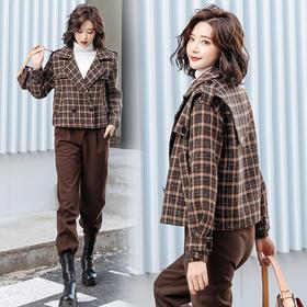 CQ-SNX2127新款潮流时尚气质格纹短外套裤子两件套TZF