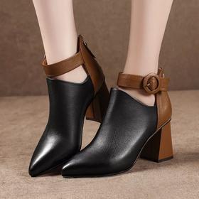 YYWXY1826新款潮流时尚气质尖头一字扣带粗跟马丁靴TZF