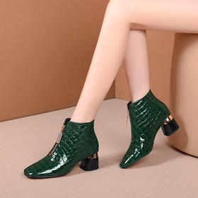 OLD-A136-9新款时尚气质真皮方头前拉链粗跟短靴TZF