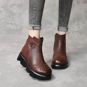 MLD-2581新款复古优雅气质头层牛皮圆头加绒保暖松糕厚底短靴TZF