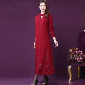 WXY-YQ-920W新款高端优雅气质纯羊毛烫钻毛长款针织连衣裙TZF