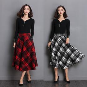 YJM2020新款复古加厚羊毛呢格子裙TZF