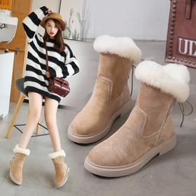 LN8101新款韩版时尚加绒保暖厚底后绑带雪地靴TZF