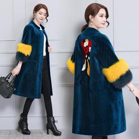 XFFS2334新款优雅气质中长款羊剪绒皮毛一体大衣外套TZF