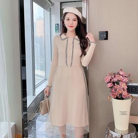YHSS901548新款时尚气质修身显瘦网纱拼接中长款针织连衣裙TZF