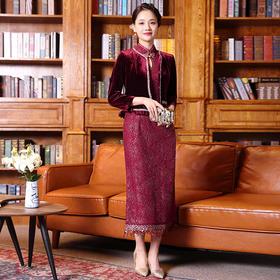 DLQ-A2764新款高端优雅气质短款钉珠外套立领礼服裙两件套TZF
