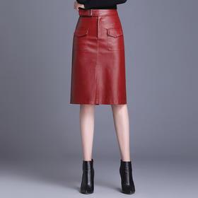 YDZFS-YY3585新款时尚气质修身高腰PU皮包臀半身裙TZF