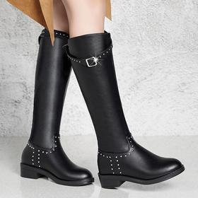 LN-YYW39新款韩版时尚圆头铆钉皮带扣粗跟长筒靴TZF