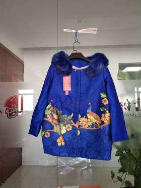 圆领中式唐装民族风刺绣时尚女士外套中长款