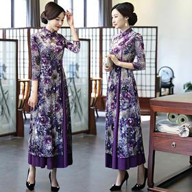PDD-SXNZ201031新款优雅气质修身立领中长款印花丝绒旗袍裙TZF