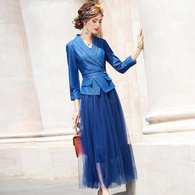 FMY33263新款优雅气质修身小西服拼接网纱中长款假两件连衣裙TZF
