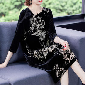 AHM-fls0236新款时尚优雅气质圆领长袖中长款丝绒印花连衣裙TZF