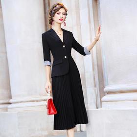 FMY33346新款优雅气质修身西装领中长款拼接百褶连衣裙TZF