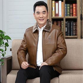 【清仓特价 不退不换】皮衣外套加绒加厚中老年皮夹克40中年皮毛一体皮褂皮外套50岁